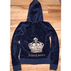 JUICY COUTURE blue velvet L bling full zip hoodie